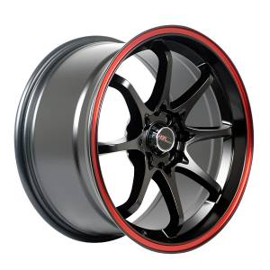 HSR Hiroshima JD6028 Ring 16x7-8,5 H8x100-114,3 ET42-35 Semi Matte Black Red Ring