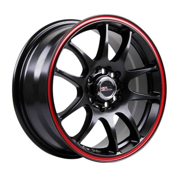 HSR Kamikaze 11033 Ring 15x65 H10x100 1143-ET40 Semi Matte Black Red Line