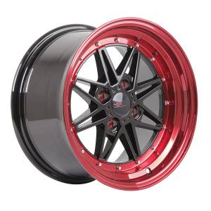 HSR Kawai 133 Ring 15x7-8 H4x100 ET18 Black Red Lips
