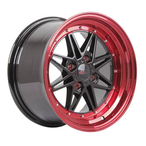 HSR Kawai 133 Ring 15x7-8 H4x100 ET18 Black Red Lips