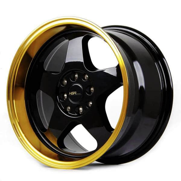 HSR Loud JD805 Ring 16x8-9 H8x100 ET35-30 Black Machine Lip Gold Coating (2)