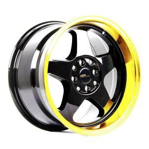 HSR Loud JD805 Ring 16x8-9 H8x100 ET35-30 Black Machine Lip Gold Coating