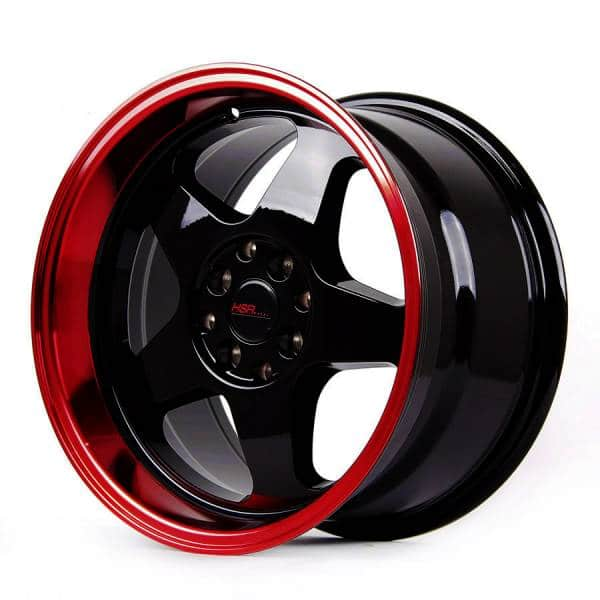 HSR Loud JD805 Ring 16x8-9 H8x100 ET35-30 Black Machine Lip Red Coating (2)