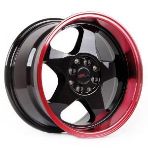HSR Loud JD805 Ring 16x8-9 H8x100 ET35-30 Black Machine Lip Red Coating
