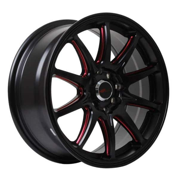 HSR Assasin JD5907 HSR Ring 16x7 H8x100-114,3 ET38 Black + Red Milling Spoke11