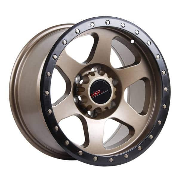 HSR Crag 6001 Ring 17x9 H6x139,7 ET0 Semi Matte Bronze + Black Lips