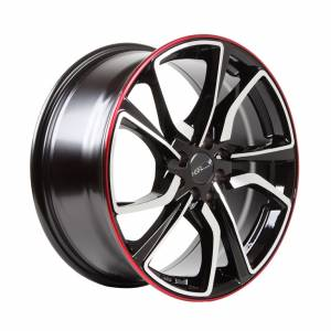HSR Misato HD008 Ring 17x7,5 H8x100-114,3 ET42 Black Machine Face Red Lips