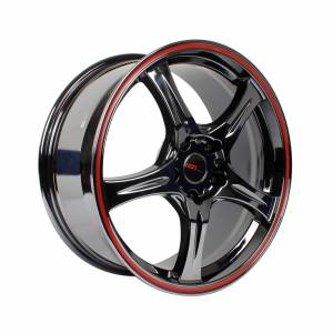 HSR Saga 55083 Ring 18x8 H5x114,3 ET35 Black Chrome+Red Lip