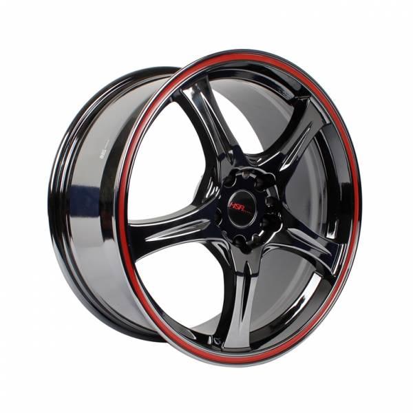 HSR Saga 55083 Ring 18x8 H5x114,3 ET35 Black Chrome+Red Lip