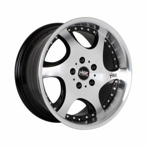 HSR Gangnam H6052 Ring 17x7,5-8,5 H5x114,3 ET38-15 Black Machine Face Machine Lips + Chrome Rivets1