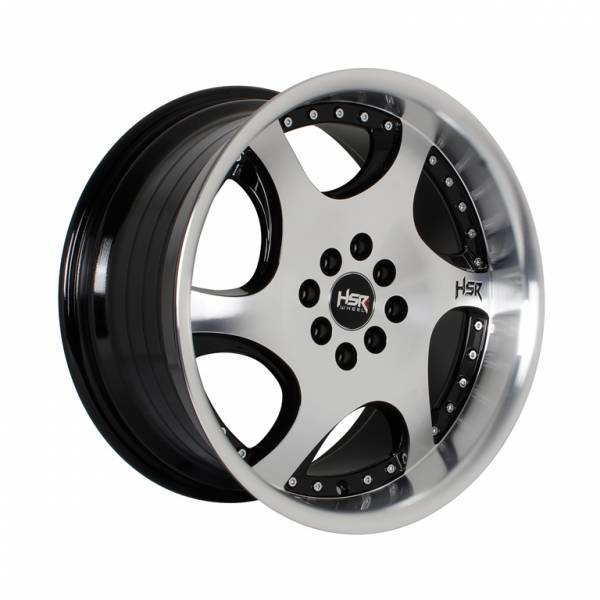 HSR Gangnam H6052 Ring 17x7,5-8,5 H8x100-114,3 ET42-38 Black Machine Face Machine Lips + Chrome Rivets1