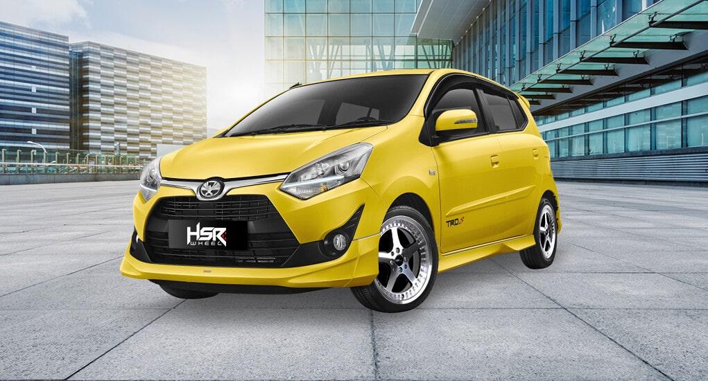 Modifikasi Mobil Agya Warna Kuning Dengan HSR Armbar