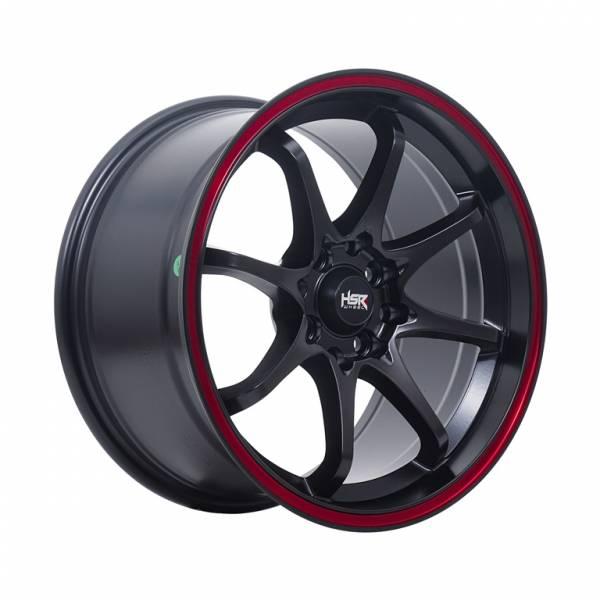 HSR Hiroshima JD6028 Ring 16x7-8.5 H8x100-114,3 ET42-35 Semi Matte Black Red Ring1