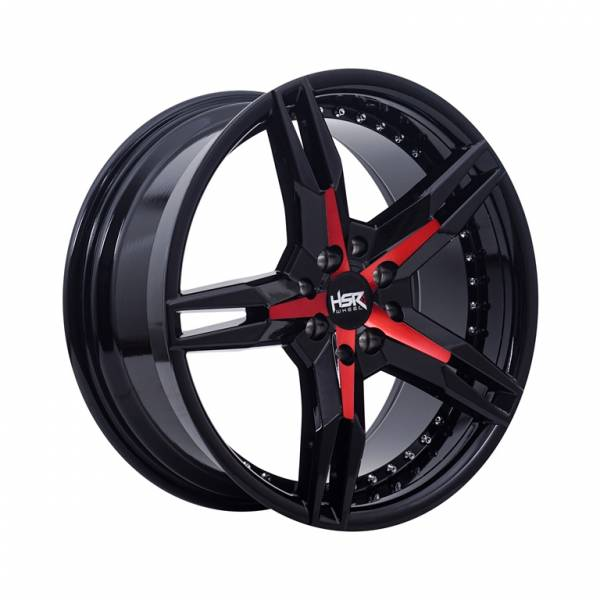 HSR Keunikai 5064 Ring 17x7,5 H8x100-114,3 ET40 Black Glossy Red Face1